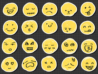 emotion collection sketch drawing vector