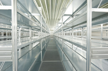 empty new modern shelves in warehouse