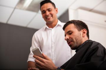 Social networking at a barber shop