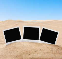 photo frame sticking out of the sand