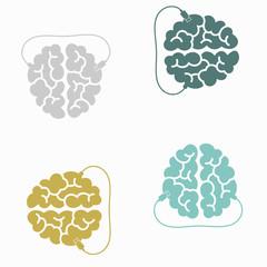 seamless background: brain, usb, plug