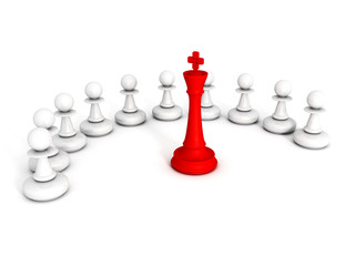 red chess king leader of pawns team