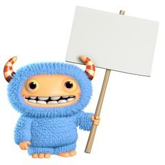 Wall Murals Sweet Monsters 3d cartoon blue monster