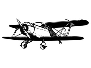 Vintage biplane aircraft. Vector hand drawn illustration.