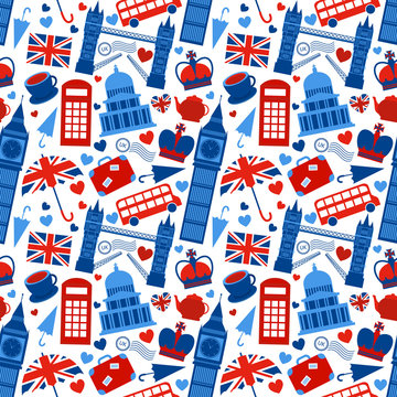 Seamless pattern background with London
