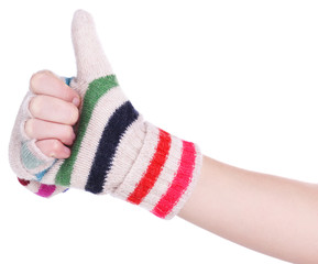Female hands in mittens isolated on white