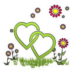 spring flower two hearts