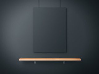 Black poster and wood shelf