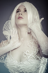 Visionary Fantasy concept, sensual young woman with vintage whit