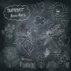 Summer Doodle set on chalkboard background