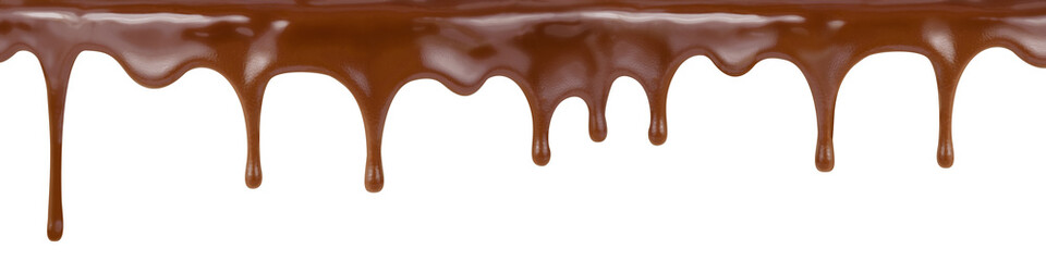 Fotobehang Chocolade pouring chocolate dripping from cake top isolated on white backg