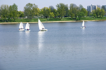 Small boats sailing