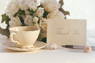 Thank you note with tea cup