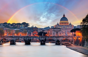 Poster Rome Tiber and St Peter Basilica in Vatican with rainbow, Roma