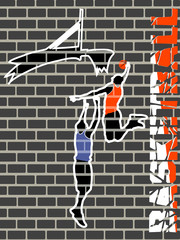 drawing on a wall playing basketball players