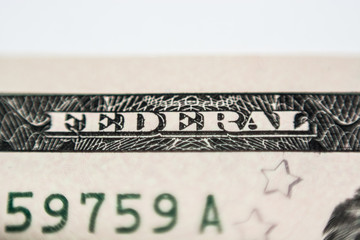 Twenty dollar bill, super close up