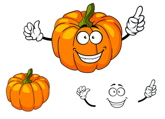Happy colorful orange cartoon pumpkin