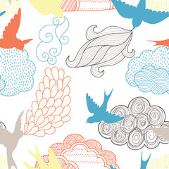 Wall Mural - Birds and clouds seamless pattern