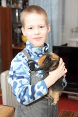 Child and cavy
