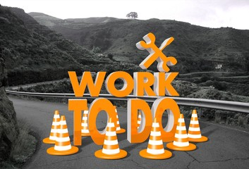 work to do sign on a road
