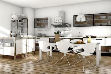 weiße Küche mit Edelstahl und Glas