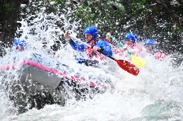 Rafting as extreme and fun sport Wall mural
