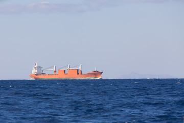 Bulk-carrier ship sailing in the sea