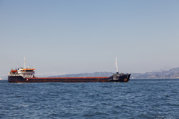 Bulk-carrier ship  moving in the sea