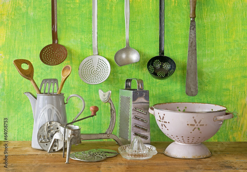 Various vintage kitchen utensils stock photo and royalty for Antique kitchen utensils identification