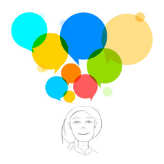 Vector Business Woman Illustration with Colorful Speech Bubbles