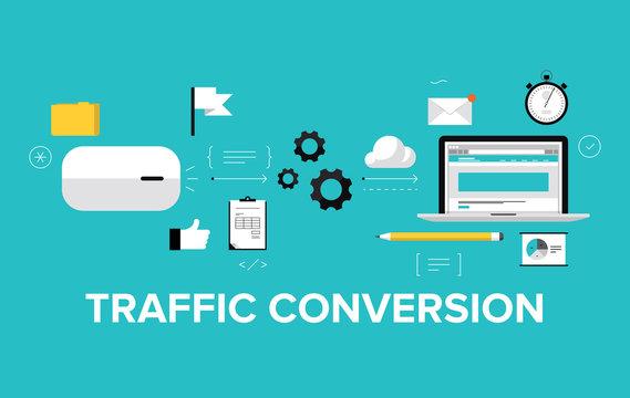 Traffic conversion flat illustration concept