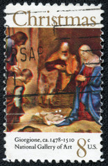stamp shows painting Adoration of the Shepherds by Giorgione