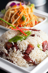 Thai Pork and Rice with Som Tum Salad