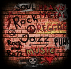 music word on grunge brick wall background