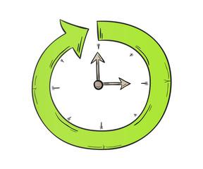 arrow and clock