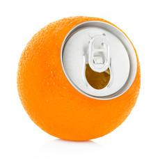 fresh orange juice in a tin