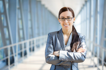 businesswoman on the blue modern background