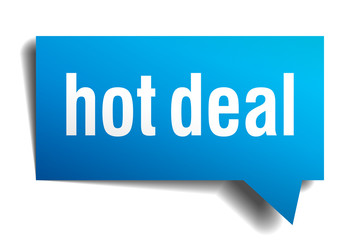 Hot deal blue 3d realistic paper speech bubble isolated on white