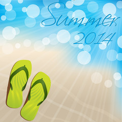 Summer background design with flip flops