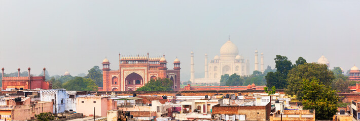 Panorama of Taj Mahal view over roofs of Agra Wall mural