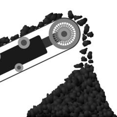 Conveyor belt with coal