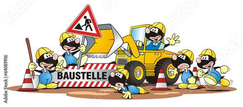 Baustelle schild comic  Hedgehog Excavator