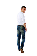 Back view portrait of a man over white background
