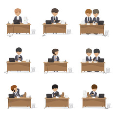 Business Peoples In Office - Isolated On White Background