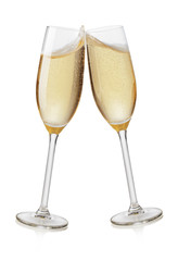 Champagne flutes toasting