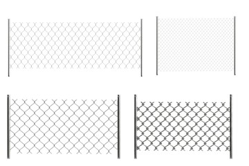 realistic 3d render of chain fences