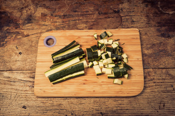 Diced and chopped courgette