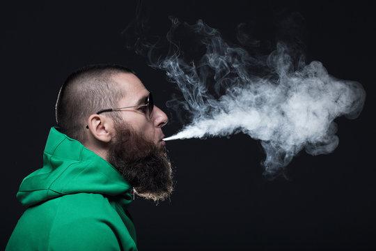 Bearded man, smoking