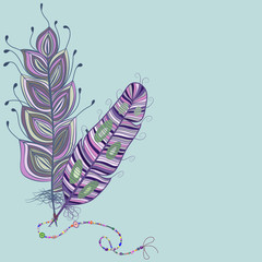 Feathers whit beads. Vector Illustration.
