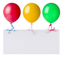 Balloons with banner isolated on white